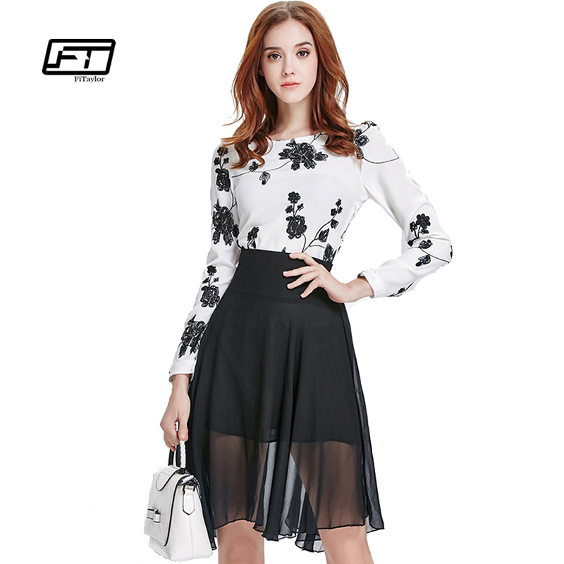 2017 new Spring And Summer Embroidery Chiffon Two Piece Suit Dress Casual Vintage Work Long ...