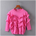 2017 Spring Fashion Cute Ladies Sweater Knitted Short Women Knitwear Pullovers robe femme Ruffle Sweater