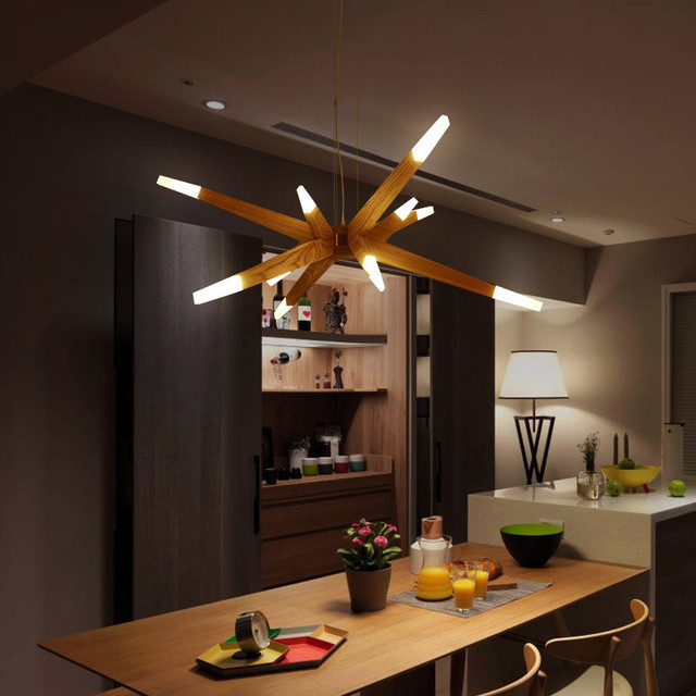 Nordic Minimalist Living Room Wooden Chandelier Creative Heterotypic Study Bar Led Hanging Light Fixtures Free Shipping