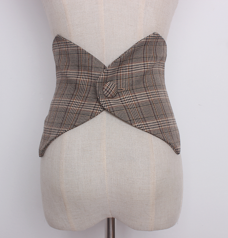 Women's Runway Fashion Plaid Checked Cummerbunds Female Vintage Dress Corsets Waistband Belts Decoration Wide Belt R1230