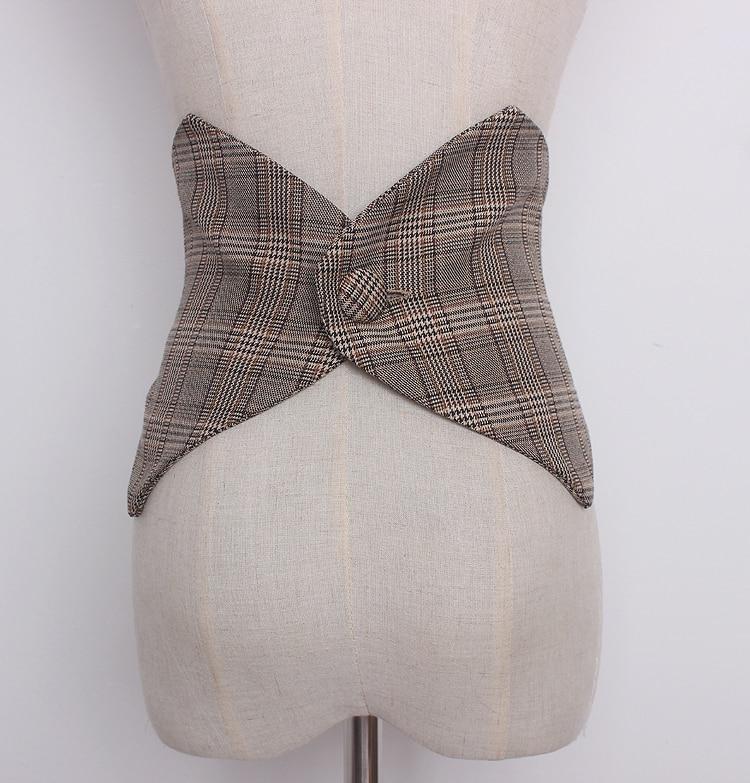 Women's Runway Fashion Plaid Checked Cummerbunds Female Vintage Dress Corsets Waistband Belts Decoration Wide Belt R1230
