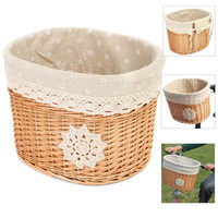 Hot Sale Wicker Bike Bicycle Basket Shopping Bag 32x26x23cm Light Brown Outdoor Cycling MTB Front Basket