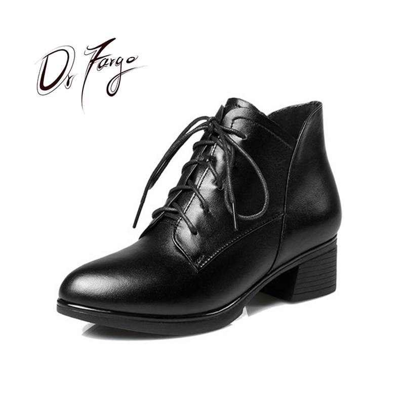 DRFARGO Genuine Leather Shoes Women Lace up Med Square High Heel Warm Winter Spring Ankle Boots size 35-42 Femme Chaussure 0726DRFARGO Genuine Leather Shoes Women Lace up Med Square High Heel Warm Winter Spring Ankle Boots size 35-42 Femme Chaussure 0726