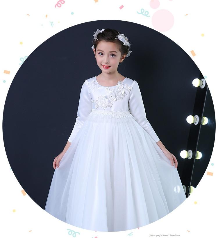 Flower Girl Dress Simple Design Ақ Ұзын Vestidos 3-14 - Балалар киімі - фото 4