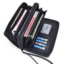 M37 Berühmte Marke Doppel-reißverschluss Aus Echtem Leder Geldbörse Für Männer Clutch Geldbörsen-kartenhalter-geldbeutel männer Brieftasche Taschen Männlichen handtasche
