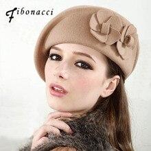 خريف شتاء خمر قبعة مصنوعة من الصوف زهرة القبعات قبعة مضيفة النساء Fedoras
