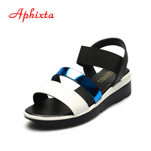Aphixta Hot Sale Women Summer Shoes Elastic Band Strap Breathable PU Peep-toe Flat Heels Espadrilles Mujer Ladies Wedge Sandals