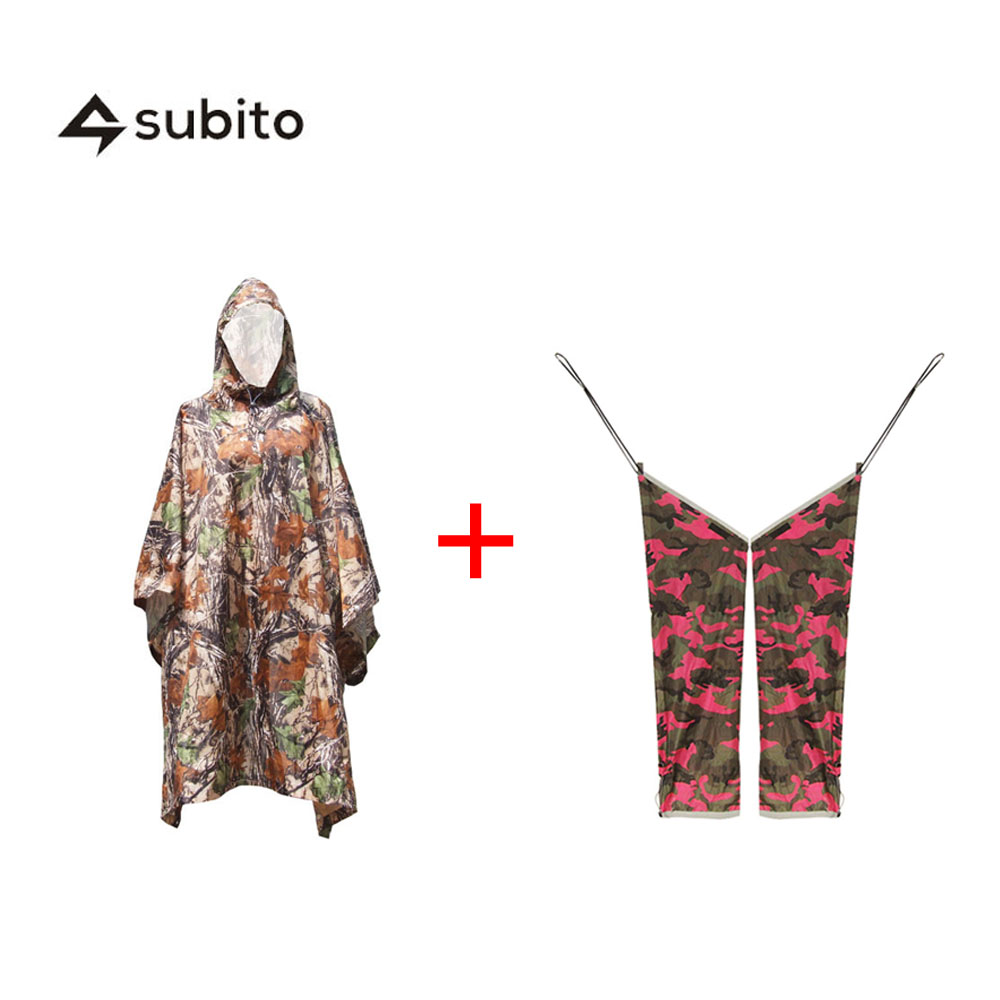 ФОТО SUBITO Rain Poncho+ Rain Pants Unisex Outdoor Raincoat Rainwear 2pcs Per Package Survival Camping Hiking Travel Kits Poncho