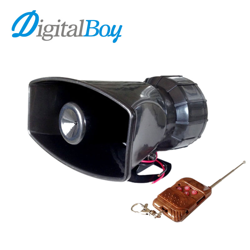Digitalboy Brand New DC 12V 100W Auto Car 7 Tone Siren Loud Horns Vehicle Motorcycle Wireless Remote Control Alarm Horn digitalboy car motorcycle dc 12v 100w loud air horn 125db siren sound speaker megaphone alarm for ambulance truck boat 6 tones