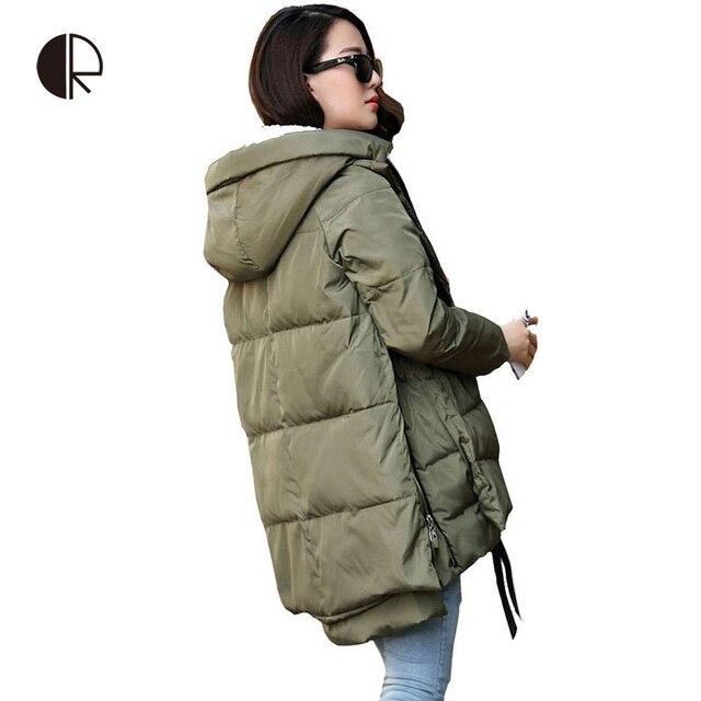 2016 Novas Mulheres Jaqueta de Inverno Para Baixo Casacos de Inverno Casuais Plus Size M-XXXL Casaco Parka Com Capuz Estilo Longo Das Mulheres Jaquetas