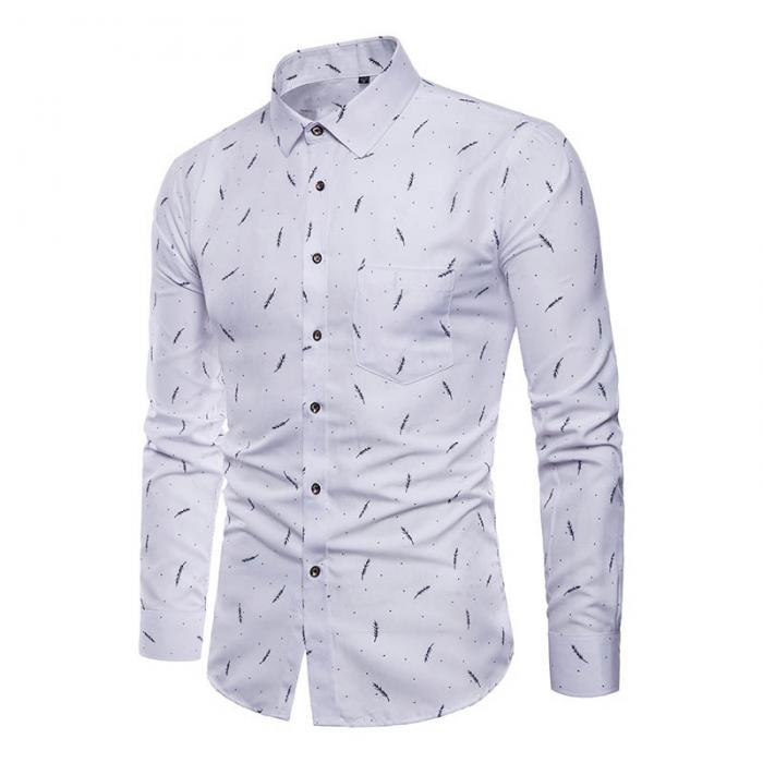 Men's Shirt Lapel Long Sleeve Printing Casual Slim Gift For Business Party Dating XIN-Shipping
