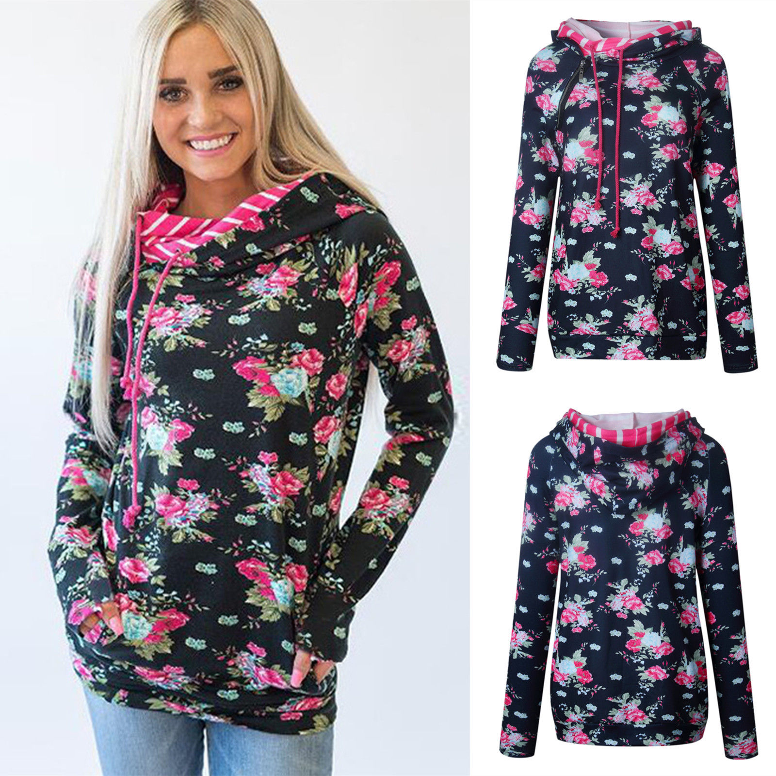 New Fashion Women Ladies Long Sleeve Floral Printed Hooded Hoodies Tops Casual Autumn Wamer Loose Women Hoodies