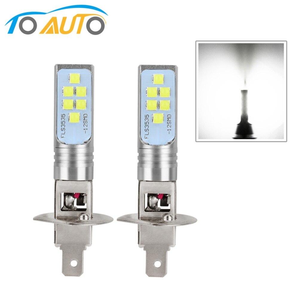 2 шт. H1 H3 светодиодные лампы, автомобильная противотуманная фара, супер яркая 1400LM 6000K белая дневная ходовая лампа для вождения, автомобильные...