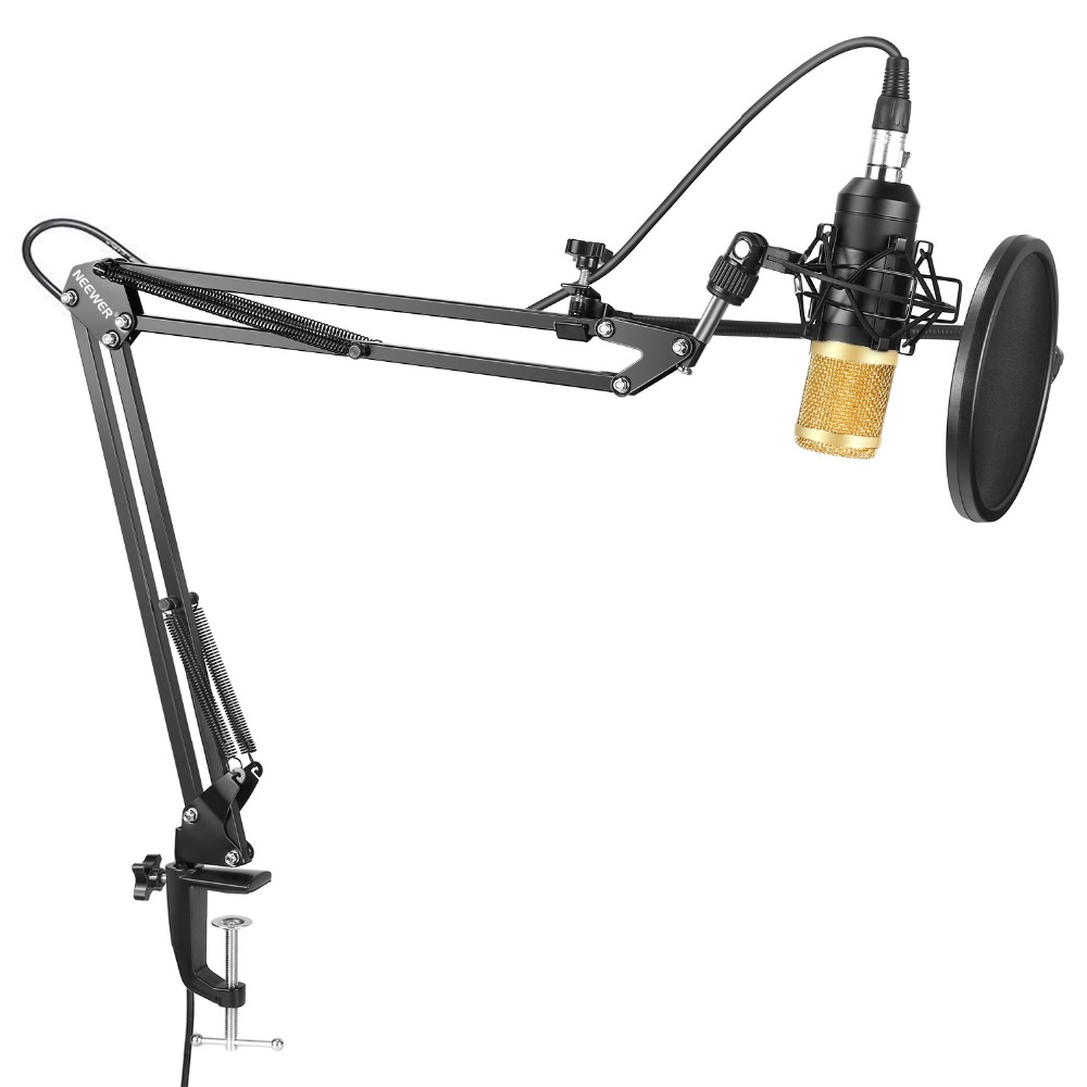 Neewer NW-8000 Professional Studio Condenser Microphone Adjustable Suspension Scissor Arm Stand+Shock Mount+Pop Filter Recording цена