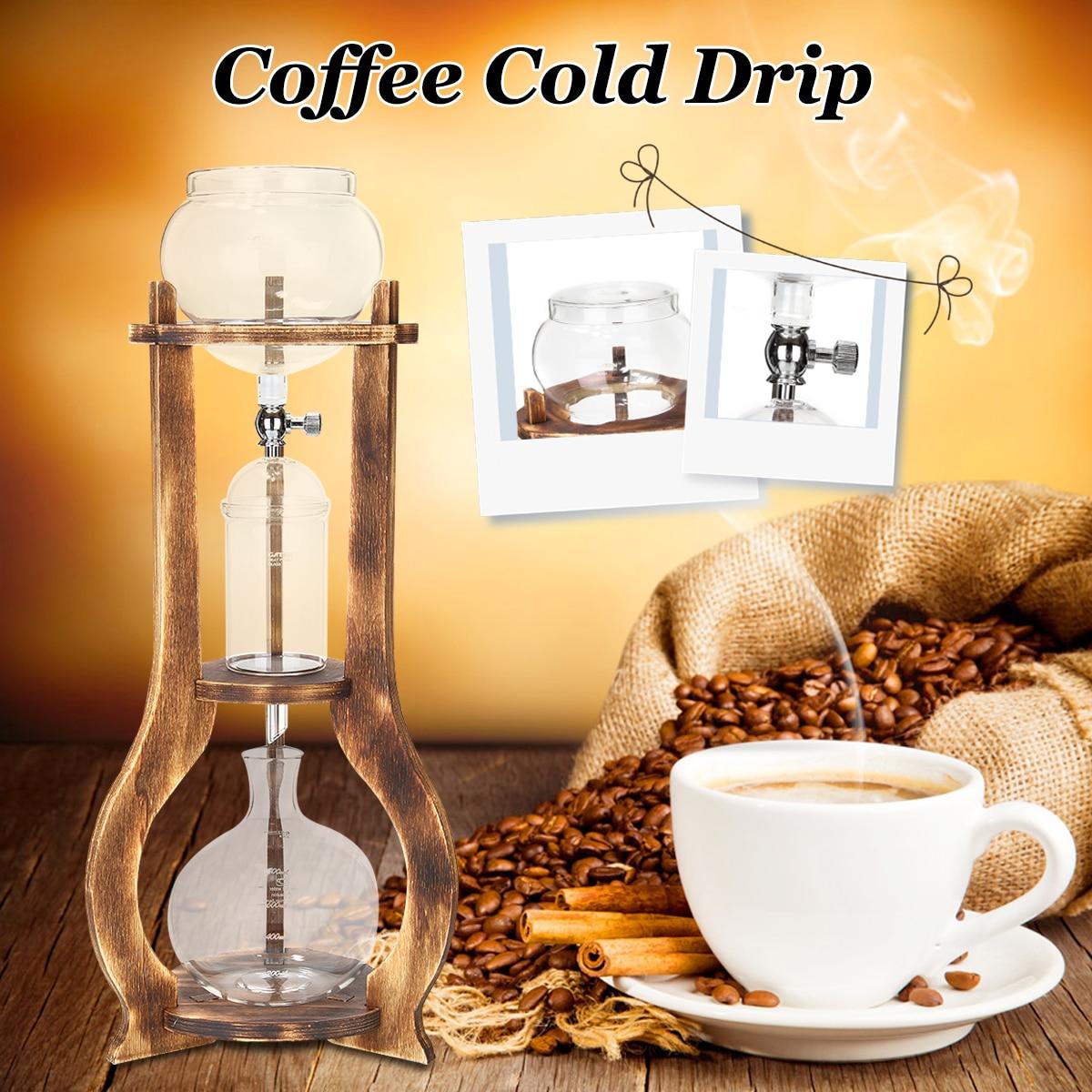 Nouveau Café Froid Goutte À Goutte Bouteille 600 ml Glace Froide Machine À Café Infusion Maison En Bois Café Filtre L'eau Néerlandais Brassée Machine