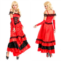 Wholesale spanish dance dress stage big pendulum skirt opening dance skirt red costumes flamenco dancer M XXXL