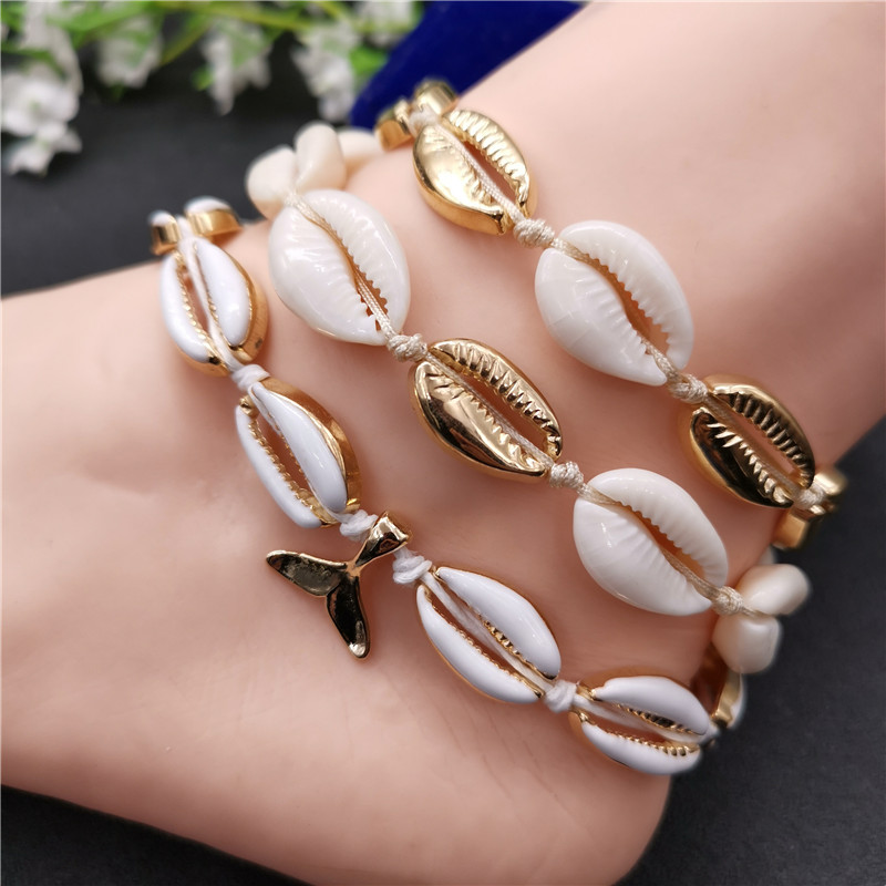 Fashion Gold Color Cowrie Shell Anklet for Women Bracelet on The Leg Bohemia Fish Tail Foot Chain Girls Beach Ankle Jewelry 2019