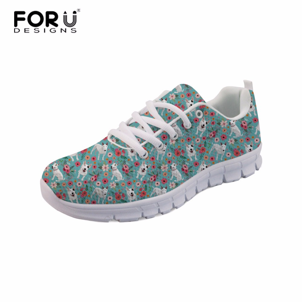 FORUDESIGNS Bull Terrier Pattern Ladies Casual Shoes Summer 2018 Spring Shoes Girl Fashion Breathable Mesh Lace-Up Women Sneaker women shoes 2018 summer breathable mesh shoes fashion flats hot sales women footwear high quality lace up mesh casual shoes
