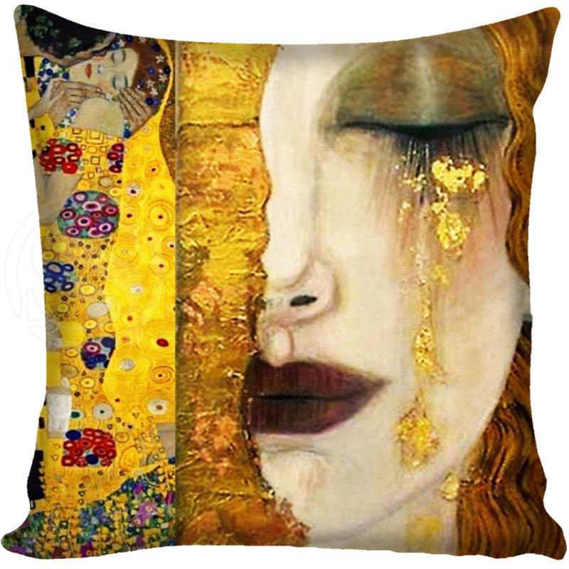 G0309 Shitje e nxehtë Gustav Klimt The Kiss Square Jastëk jastëk Custom Zippered Jastëk jastëk Cover