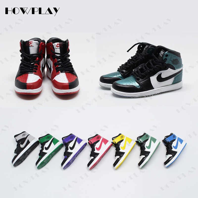 5bfcf5e9e1 HowPlay 3D mini sneakers keychains bag charms air jordan keyring backpack pendant  creative gift crafts AJ1