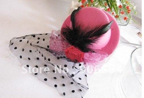 Миниатюрная шляпа розового цвета, вуалетки, Детские аксессуары для волос, красная Коктейльная дамская шляпа,,, MSJ02, 6 шт./партия