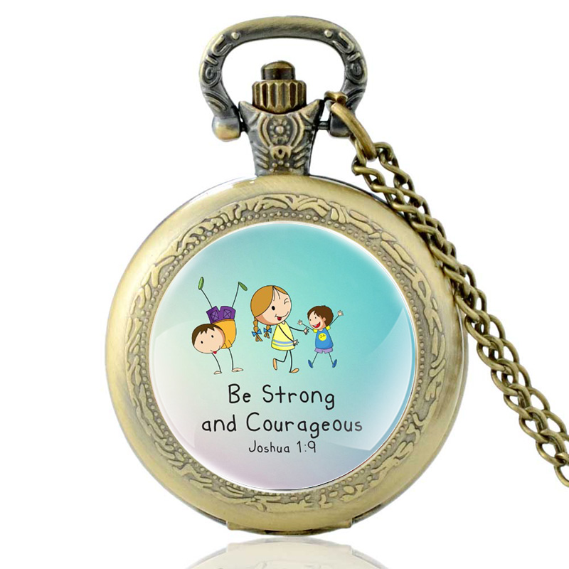Vintage Bronze Be Strong And Courageous Bible Verses Quartz Pocket Watch Retro Men Women Pendant Necklace Christian Faith Gifts