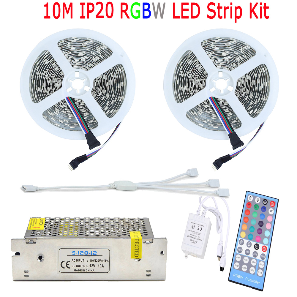 20M RGBW RGBWW 5050 LED Strip Diode Tape Fita De LED Light No Waterproof 60LED/M 40 Key Remote RGBW Controller AC Power Supply