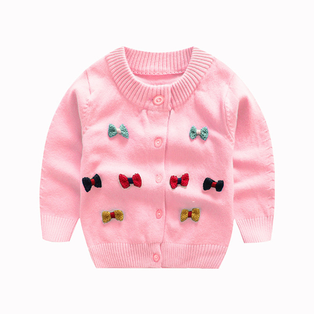 69e57482f88d Cute Bow Girls Cardigan Sweater Knit Cotton Sweater For Girls O Neck ...