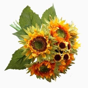 5 Heads Autumn Decoration Yellow Sunflower Silk Artificial Flowers Bouquet for Home Decoration Office Party Garden Decor