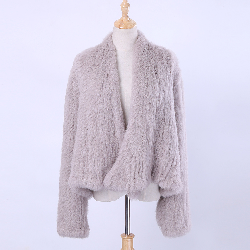 Women Real Knitted Rabbit Fur Cardigan Coat Girl's Jacket Natural Hand-made Irregular Collar Garment Rabbit Fur Knit Outerwear