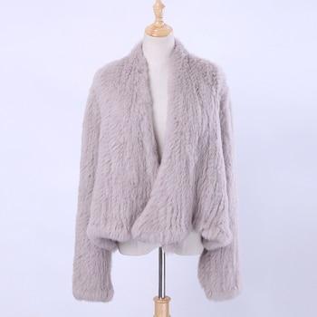 Women Real Knitted Rabbit Fur Cardigan Coat Girl's Jacket Natural Hand-made Irregular Collar Garment Rabbit Fur Knit Outerwear цена 2017
