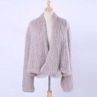 Women Real Knitted Rabbit Fur Cardigan Coat Girl's Jacket Natural Hand made Irregular Collar Garment Rabbit Fur Knit Outerwear