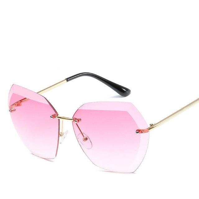 2019 Fashion Square women's sunglasses hue Vintage Retro Rimless Sun Glasses for women Female Ladies Sunglass gafas de sol mujer 3