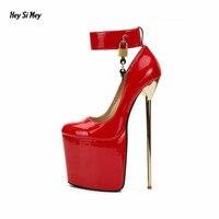 Crossdresser замка стилет плюс: 40-48 49 50 на платформе zapatos mujer 22 см тонком металлическом обувь на каблуке женские вечерние туфли-лодочки для ночного ...