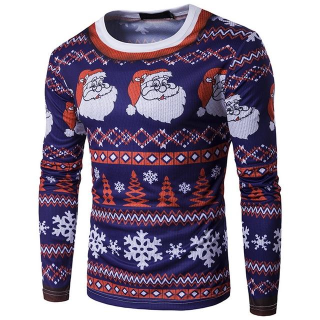 Laamei Men's Slim T-shirt Long-sleeved Fashion 3D Print Santa Claus Round NeckTshirt 2018 New Male Casual Christmas Tshirts