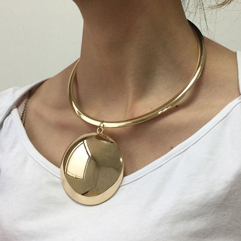 UKEN Punk Women Golden & Silver Color Statement Collar Choker Necklace Maxi Big Circle Metal Torques Necklaces Pendants plus size funnel collar maxi asymmetric hoodie