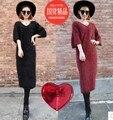 Nova moda de Pelúcia mink suéter de cashmere casaco mulheres moda sete vestido de manga senhoras pullover casaco outwear