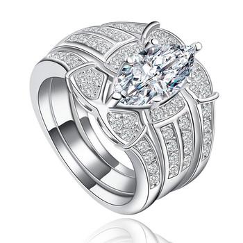 YaYI moda kobiety biżuteria 3 pierścienie biały CZ kolor srebrny pierścionki zaręczynowe obrączki ślubne pierścienie Party pierścionki prezent tanie i dobre opinie Platinum plated HR322 15mm Prong ustawianie Zaręczyny Romantyczny Geometryczne Zespoły weselne yayi jewelry Cyrkonia NONE