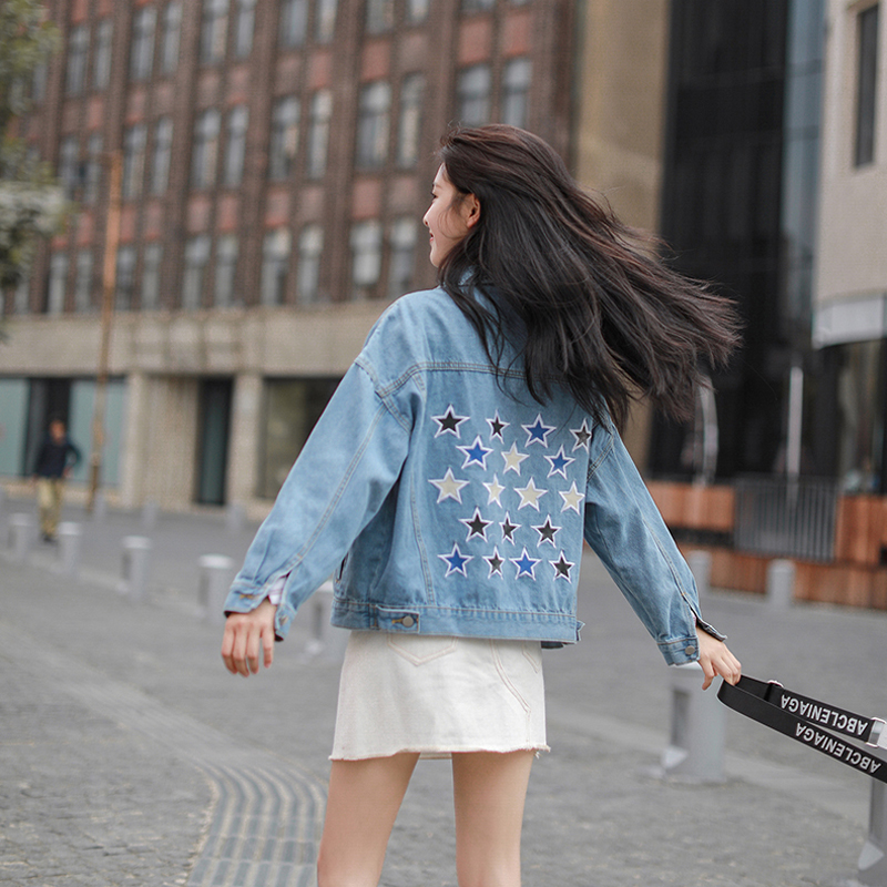 Harajuku Fashion Long Sleeve Women   Basic     Jacket   Chic Stars Embroidery Women Denim   Jacket   Coats Cotton Sweet Denim   Jackets