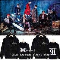 תמיכה היקפית אלבום חדש BTOB Lu Xingcai עם ווי בגדי מעיל רוכסן ברדס בתוספת קטיפה