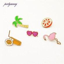 b63ee99f662 PY 5pcs set Metal Enamel Flamingo Orange Coconut Juice Sunglasses Badges  Kawaii Anime Icons Badges