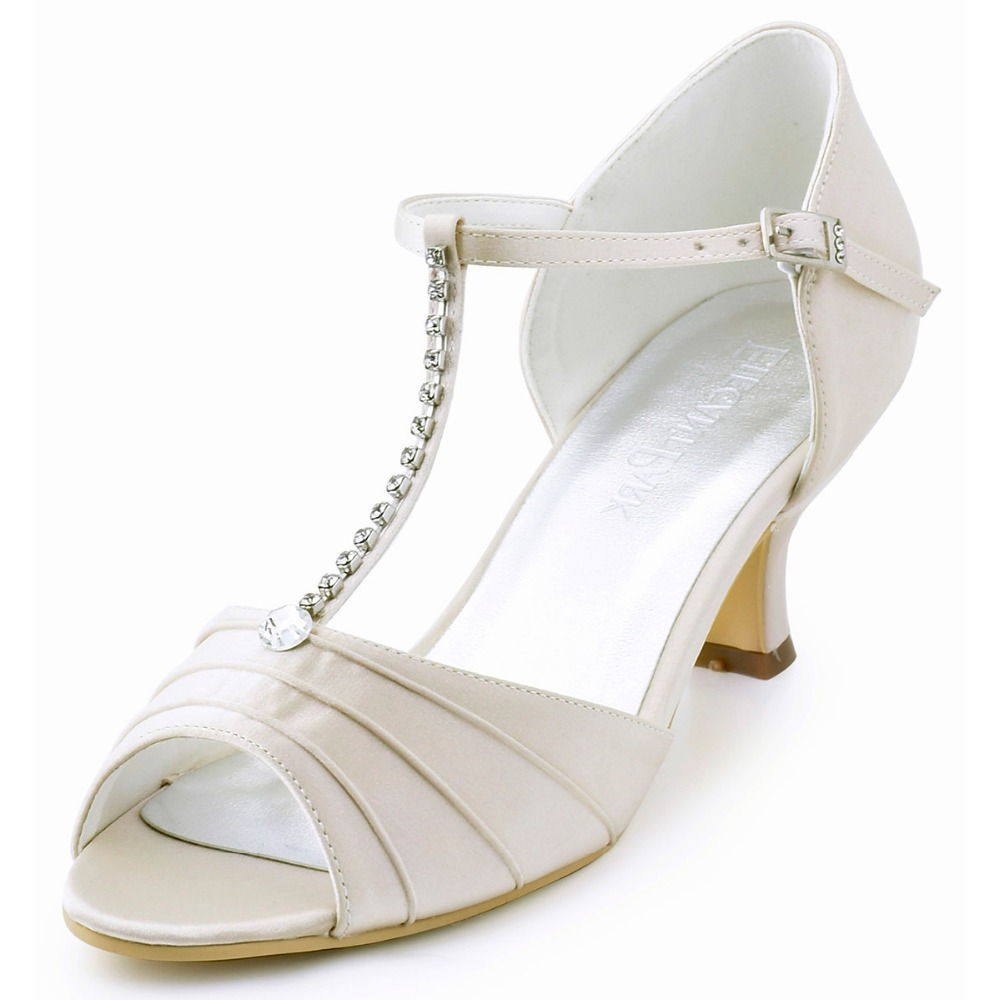 Sandals honeymoon shoes with rhinestone - Easy To Buy El 035 Women Sandal Shoes Champagne Peep Toe Bridal Sandal Rhinestones T Strap Bride Bridesmaids Satin Wedding Dress Party Shoes