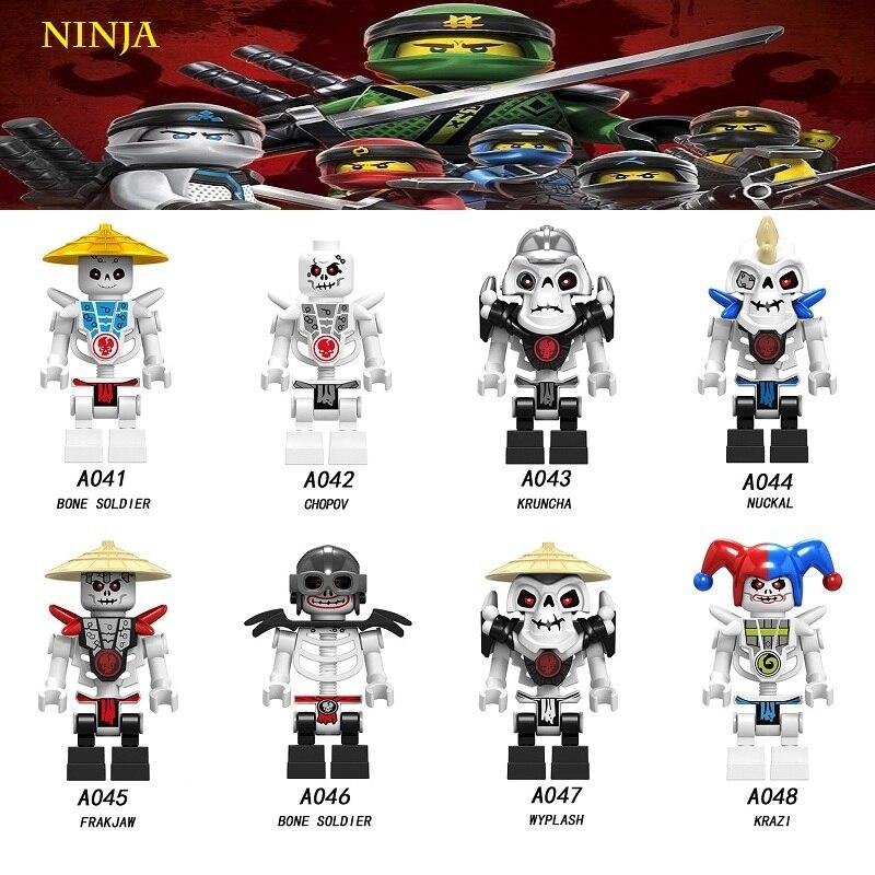 Legoed Ninjagoing Bone Soldier Nuckal Frakjaw Krazi Playmobil Building Blocks Action Minifigured Ninja Toys For Children A041
