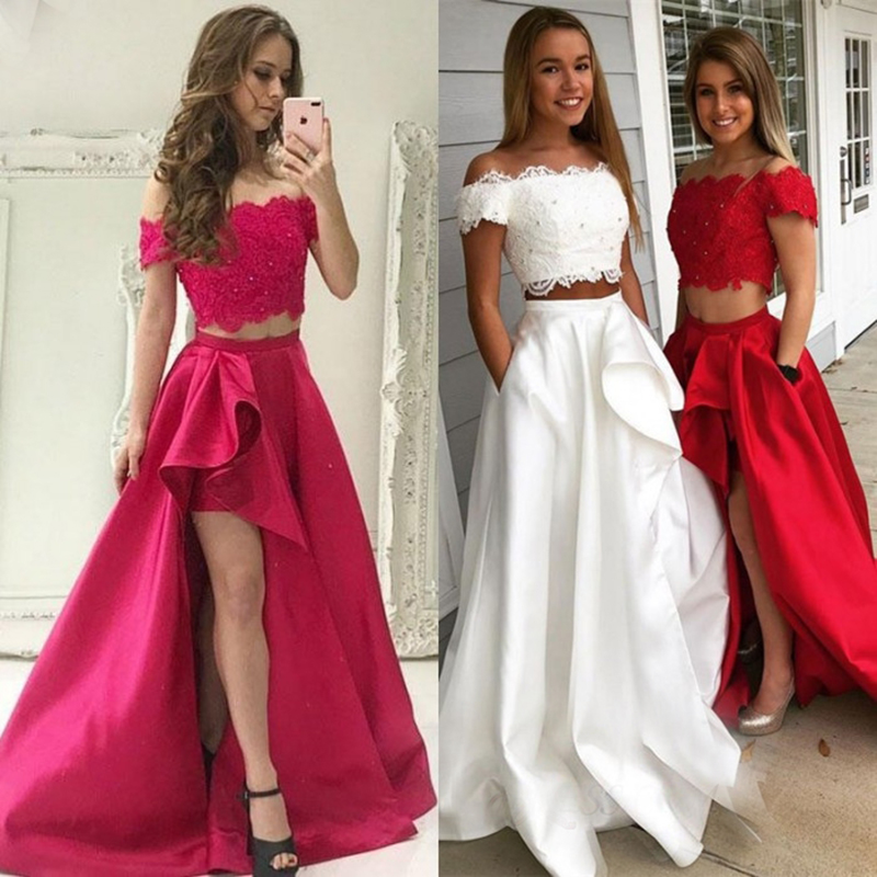 Glamorous Boat Neck A-line   Bridesmaid     Dresses   2018 Sexy Side Split Lace Beads Floor Length Party Gowns Robe De Soiree Prom   Dress