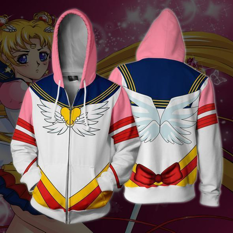 Girl Soldier Zipper Hoodie Sailor Moon Hoodie Sweatshirt FOR WOMEN men 3D Print Hoodies Streetwear Casual Cospaly Hoodie 2019