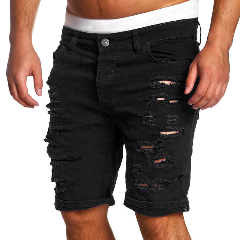 Brand Black Ripped Jeans Men Short Biker Denim Jeans Summer Casual Slim Fit Water Washed Cotton Straight Men Short Jeans