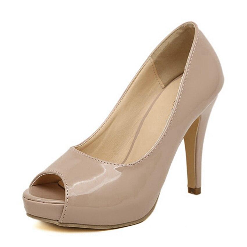 ФОТО Women Fashion Platform Party Shoes Woman High Heels Open Toe Patent Leather Pumps Stiletto jim2349-12