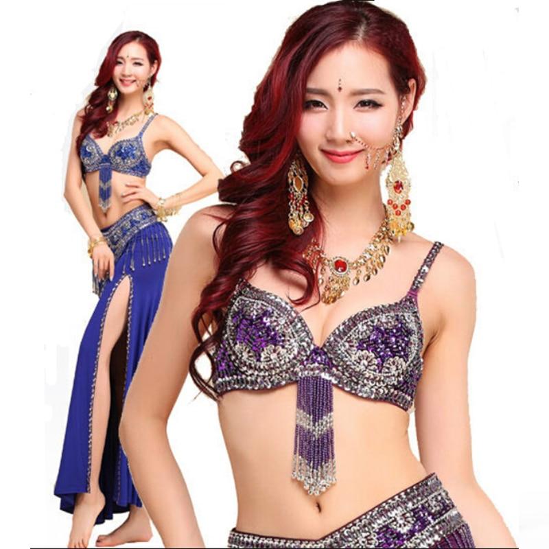 Novo estilo traje de dança do ventre s / m / l 3 pcs sutiã e cinto & saia sexy dança mulheres roupas de dança set dança do ventre desgaste indiano 6 cores
