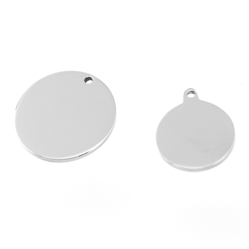 15 20mm Stainless Steel Round Pet Tag Pendant Blank Charm for Engrave Printing 1 5mm Loop