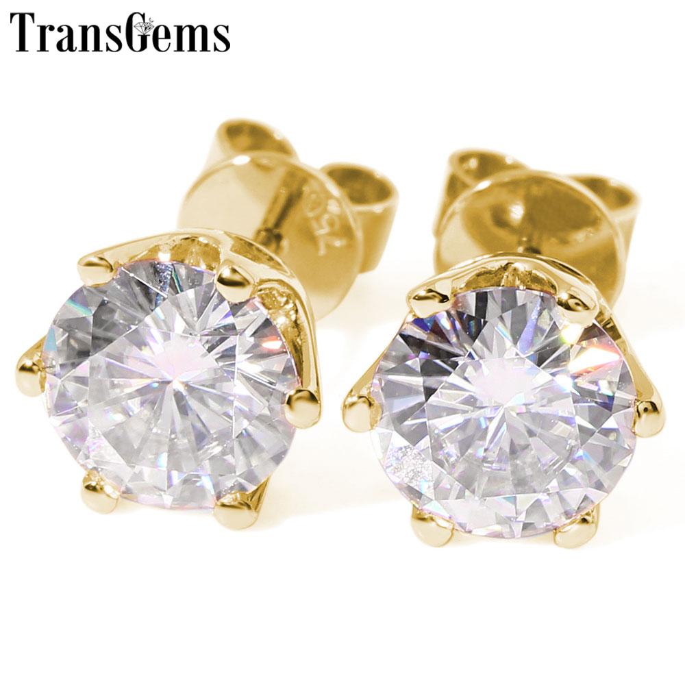 Transgems 14K 585 Yellow Gold  0.8 To 4 CTW Size F Color Clear Moissanite Stud Earrings For Women Wedding Jewelry Push Back